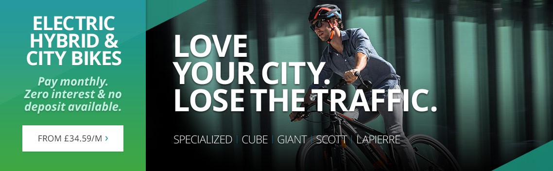 Hybrid and city electric bikes from Specialized, Cube, Giant, Scott & more | Lose the traffic. Love your city. | From £34.59 per month | No deposit. Zero interest. | Free UK delivery
