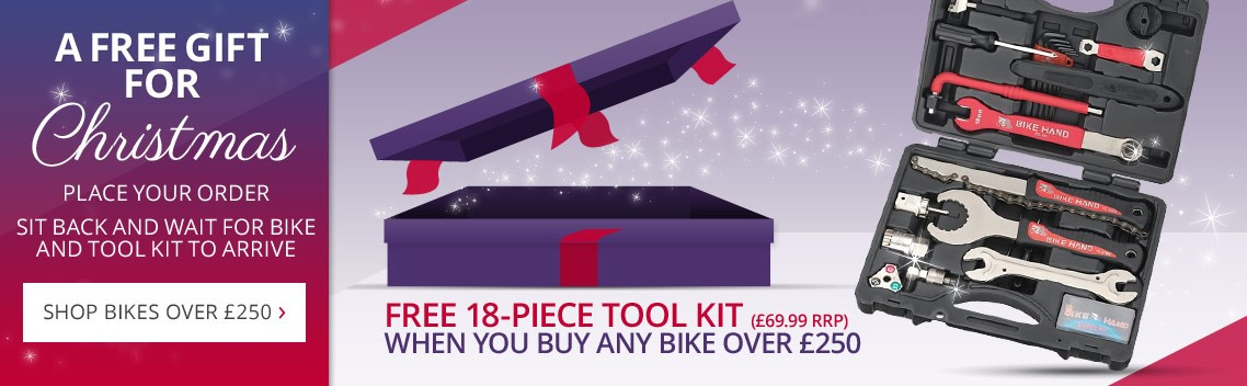 Free Gift this Christmas at Wheelies | Purchase any bike over £250 and get a free 18 piece tool kit worth £69.99 | Free UK delivery