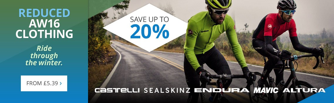 Reduced AW16 clothing | Save up to 20% on jackets, jerseys, tights, shorts, gloves, helmets and more | Castelli, Altura, Endura, Sealskinz & other top brands | Free UK delivery
