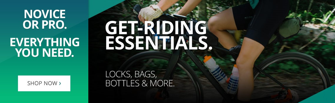 Get-riding essentials | All you need for a smooth ride on the road, on the trails, through the city or on your commute | Locks, lights, helmets, bags & more | Cycling novice or pro | Shop now | Free UK delivery