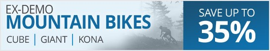Ex-demo & display mountain bikes | One-of-a-kind deals on Giant, Cube, Kona & more | Save up to 35%