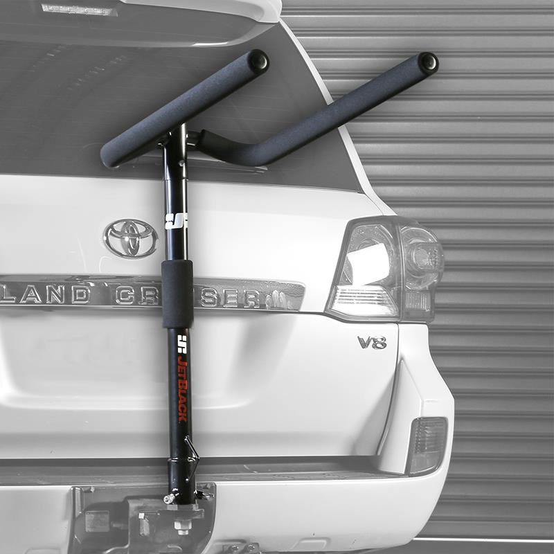 JetBlack 4 Bike Double Folding Hitched Jetrack Towball / Towbar Mounted Bike Carrier With 8 Bungee