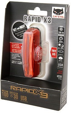 Cateye Rapid X3 100 Lumen Rear Rechargeable Light 2015