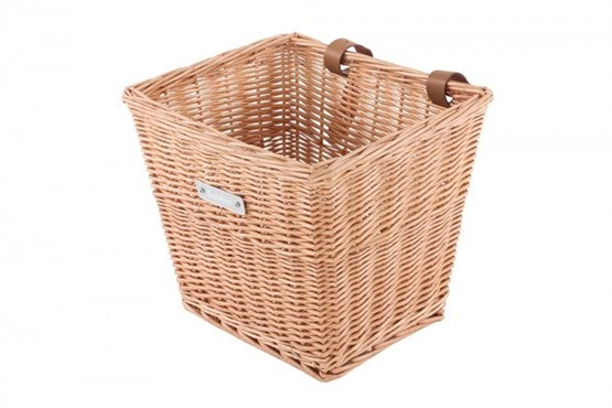 Image of Bobbin Everyday Wicker Square Basket with Leather Straps