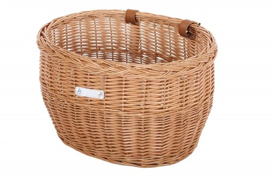 Image of Bobbin Market Wicker Oval Basket with Leather Straps