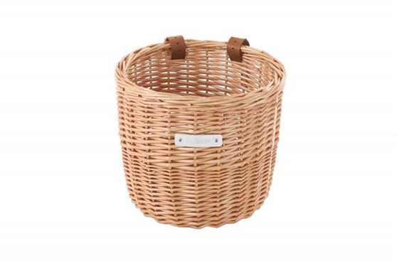 Image of Bobbin Orchard Wicker Round Basket with Leather Straps
