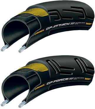 Image of Continental Grand Prix Attack and Force II Set - Front and Rear Black Chili Tyres