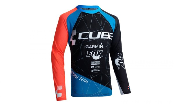 Image of Cube Action Roundneck Team Long Sleeve Cycling Jersey