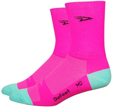 "Image of DeFeet Aireator 5"" D Logo Hi-Vis Socks"