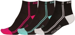 Image of Endura Coolmax Womens Striped Socks (3 Pack) SS17