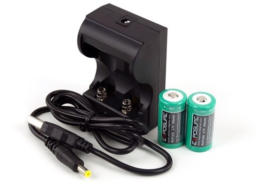 Image of Exposure CR123 Charger and Batteries (pair)