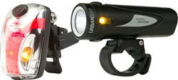 Image of Light and Motion Urban 350 Obsidian Stout & Vis 180 Micro Twinpack USB Rechargeable Light Set