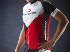 Image of Merida Red Trieste Design Short Sleeve Cycling Jersey