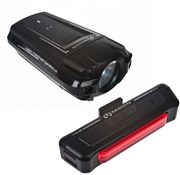 Image of Moon Meteor 200 Lumens Front and Comet 35 Lumens Rear USB Rechargeable Light Set