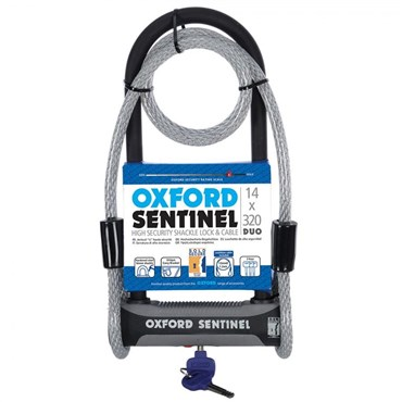Image of Oxford Sentinel U Lock and Cable Duo - Silver Sold Secure Rating