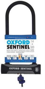 Oxford Sentinel U Lock with Bracket - Sold Secure Silver