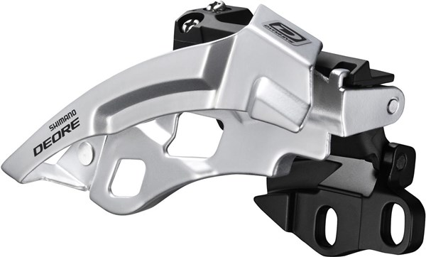 Image of Shimano FD-M611 Deore 10-Speed Triple Front Derailleur - Dual-Pull - Direct-Fit - black