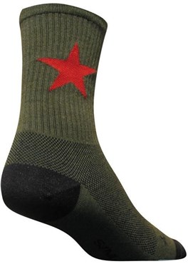 "Image of SockGuy Crew 6"" Wool Red Star Socks"