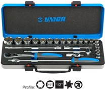 "Image of Unior Socket Set 1/2"" in Metal Box - 190BI6P24"