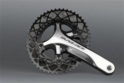 Image of absoluteBLACK 110BCD 4 Bolt Spider Mount Aero Oval 2X Asymmetric Premium Race Chainring
